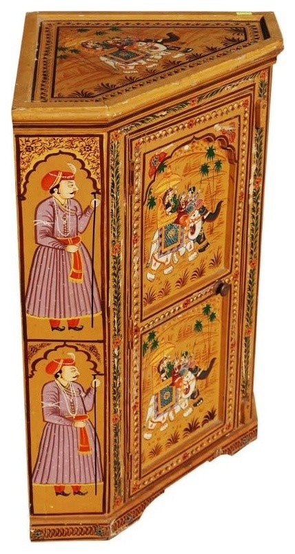 New Delhi Hand Painted Mango Wood Mini Corner Cabinet