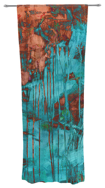 Iris lehnhardt rusty teal paint teal decorative sheer for Painting sheer curtains