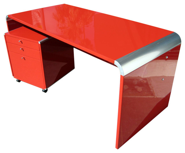 Chic Lacquered Desk And Drawer Unit Contemporary Desks