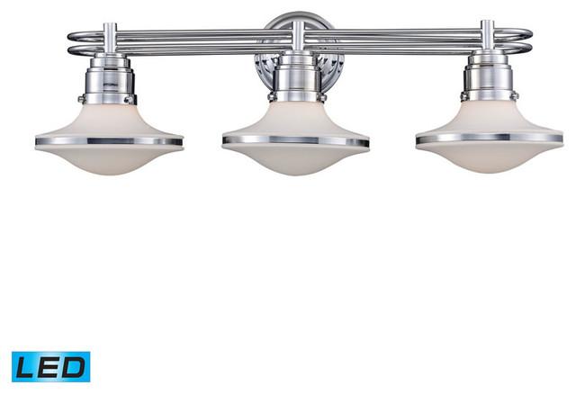 Avalon Polished Chrome Bathroom Vanity Ceiling Lights: Retrospective 3-Light Vanity