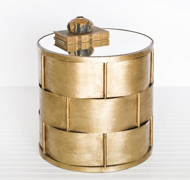 Worlds Away Davis Basket Weave Side Table In Gold Leaf