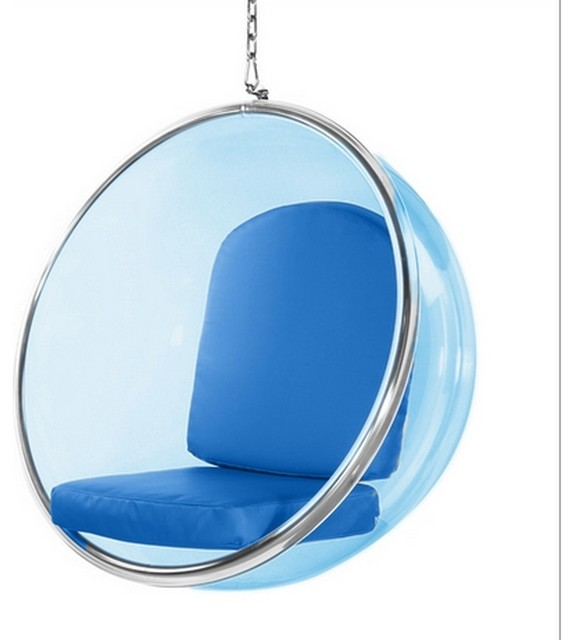 Fine Mod Imports  Bubble Hanging Chair Blue Acrylic, Blue by TRIBECA DECOR