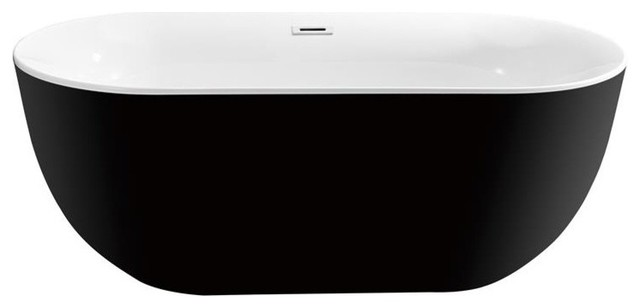 "59"" Streamline Soaking Freestanding Tub With Internal Drain, Glossy Black."