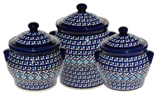 Polish Pottery Canister Set, Pattern Number: 217aset Farmhouse Kitchen  Canisters And