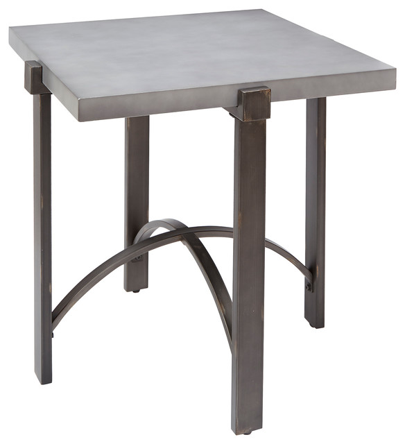 Lewis End Table With Square Concrete Finish Top Industrial Side - Industrial concrete side table