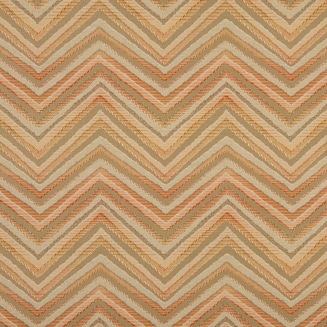 Orange Taupe And Beige Chevron Indoor Outdoor Upholstery Fabric By The Yard