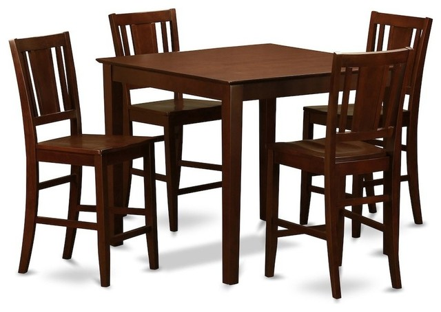 5-Piece Counter Table Set, Pub Table And 4 Kitchen Chairs by East West Furniture