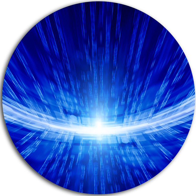 """Glowing Blue Lines, Abstract Digital Art Round Wall Art, 23""""."""
