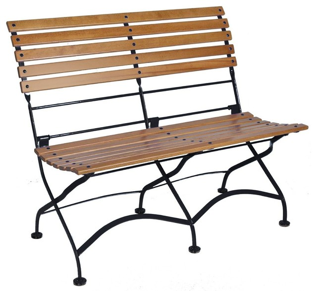 French Cafe Bistro 2 Seat Folding Bench, Black Frame, African Teak Wood  Slats