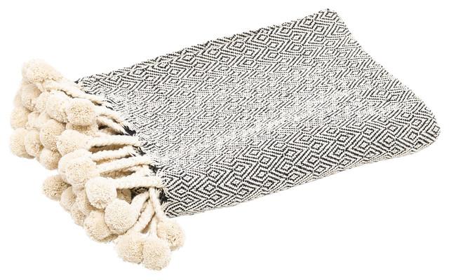 Diamond Jacquard Woven Pom Pom Fringe Throw
