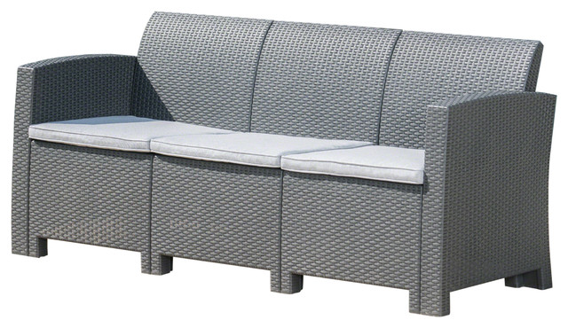 St. Pete Outdoor 3-Seat Faux Wicker Rattan Style Sofa, Charcoal, Light Gray.