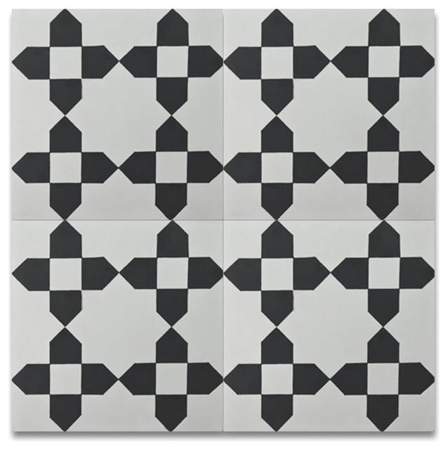 """8""""x8"""" Martil Handmade Cement Tile, Black And White, Set Of 12."""
