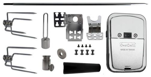 Hexagon Rotisserie Spit Kit with Stainless Rotisserie Motor 37 inch