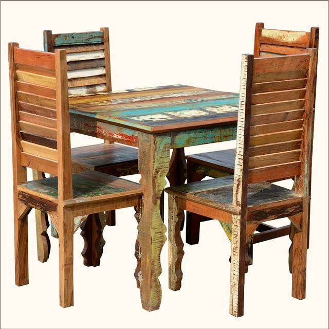 Rustic Reclaimed Wood Dining Table W Shutter Back Chairs