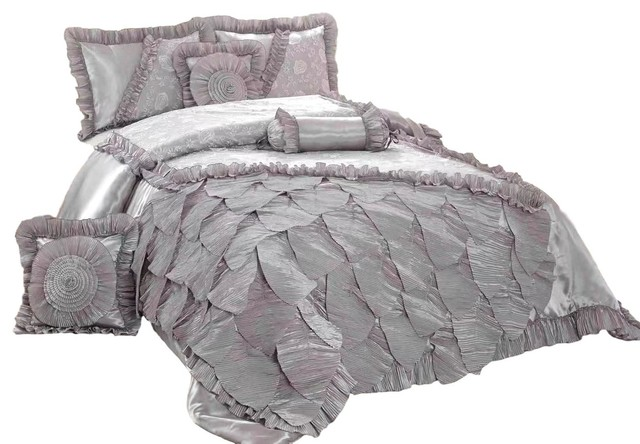 Tache Silver Rose Petals Satin Fl, Silver And White Bedding Sets