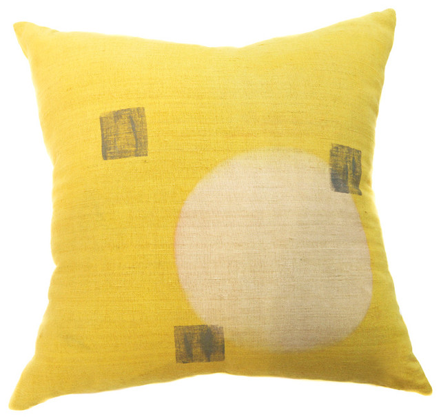 Yellow Silk Decorative Pillows : Osage Yellow Block Printed Silk Pillow - Modern - Decorative Pillows - by BZDesign