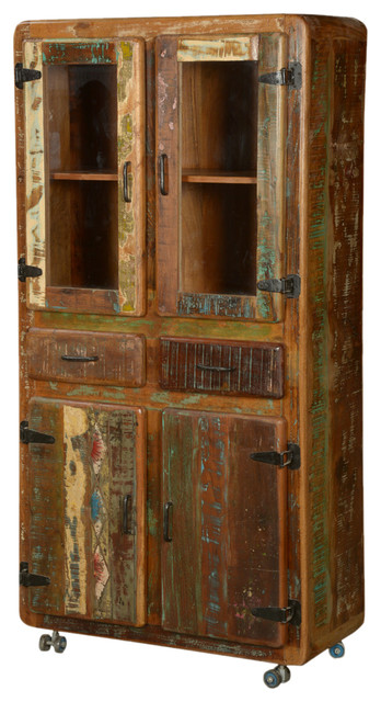 Pioneer Rustic Reclaimed Wood 71 Rolling Hutch And Buffet
