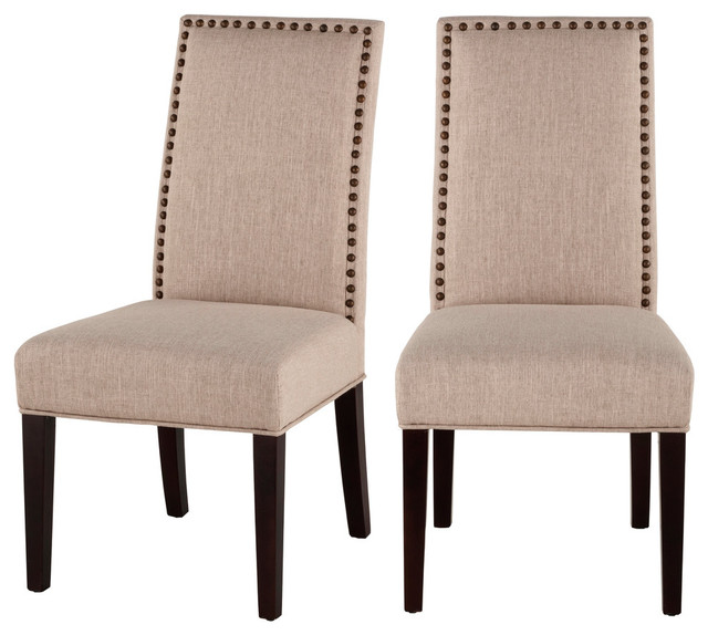 Linen Chairs With Nailhead Trim Set Of
