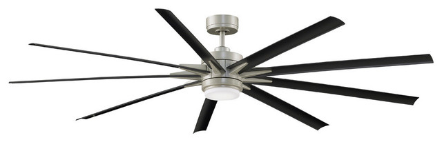 Odyn Ceiling Fan, Brushed Nickel With Black Blades and LED Light Kit, 84""