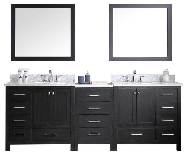 Virtu Usa Caroline Premium 92 Double Bathroom Vanity, Zebra Gray, White Marble.