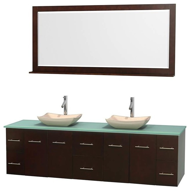 6 Drawers Double Bathroom Vanity Set With Green Glass