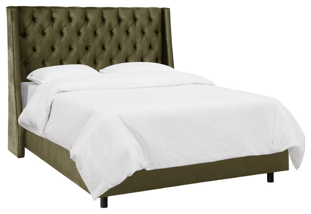 Wayfair Tufted Headboard Bedding Bedroom Transitional With: Tufted Wingback Bed, Majestic Pine