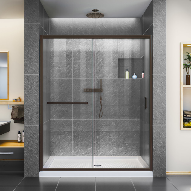 Infinity-Z 60 Clear Shower Door, Oil Rubbed Bronze and Left Drain Biscuit Base by DreamLine