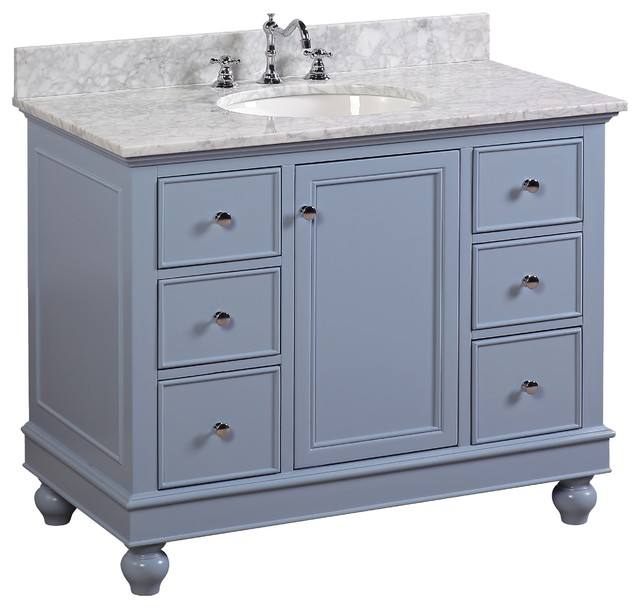 "Bella Bath Vanity, Base: Powder Blue, 42"", Top: Carrara Marble"