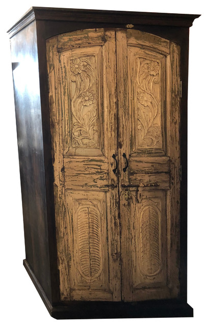 Consigned Reclaimed Antique Indian Solid Wooden Armoire Fl Carving Cabinet
