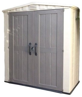 Outdoor 3 x 6-ft Storage Shed in Taupe Brown Polypropylene