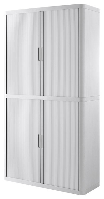 "Paperflow Easyoffice Storage Cabinet, 80"" Tall With Four Shelves, White."