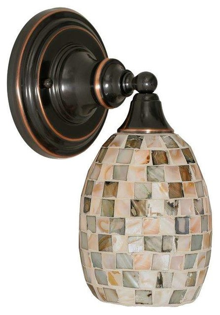 Toltec Sconce In Black Copper Sea Haze Seashell Glass transitional-wall- sconces  sc 1 st  Houzz & Toltec Sconce In Black Copper - Transitional - Wall Sconces - by ...