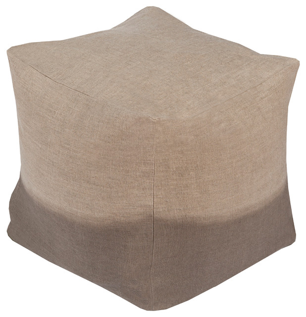 Dip Dyed Cube Pouf, Neutral - Contemporary - Floor Pillows And Poufs - by Surya