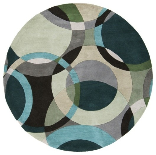 Circle Pattern Round Rug In Sea Foam