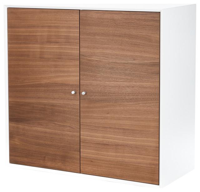 Hms Furniture Mdf Furniturebox With 2 Doors, White And Walnut.