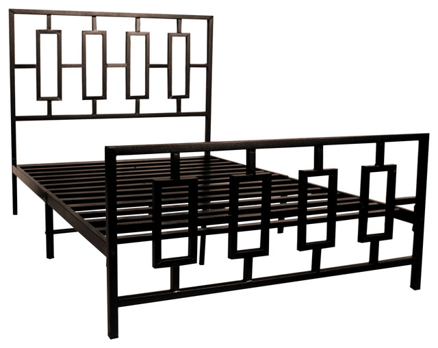 karola metal bed frame square design full contemporary panel beds - Metal Bed Frames