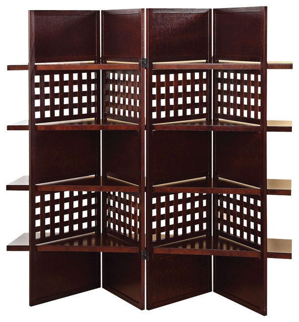 Contemporary Dark Brown Wood 4 Panel Room Divider Screen