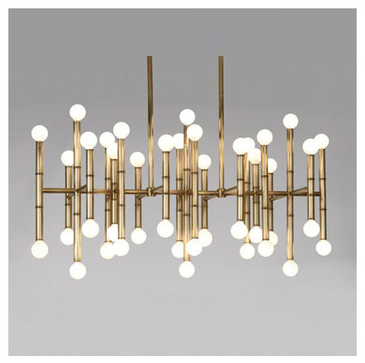Robert Abbey Jonathan Adler Meurice Rectangular Antique Br Chandelier