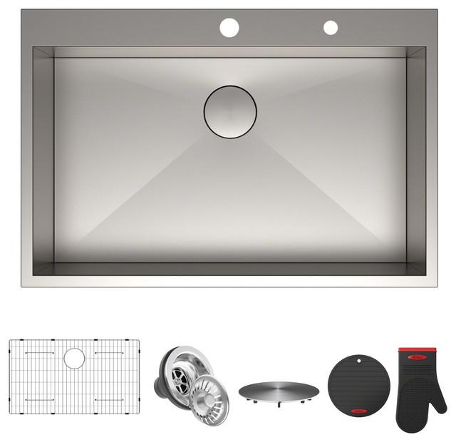 "Kraus Pax Zero-Radius 33"" Single Bowl Drop-In Sink With 2 Pre-Drilled Holes."