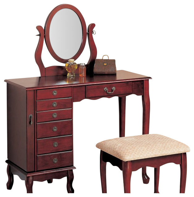 Makeup Vanity.Coaster 2 Piece Vanity Set With Swivel Mirror In Brown Red And Cream