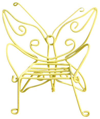 Butterfly Chair for Miniature Garden, Fairy Garden, Color: Yellow rustic-decorative-objects-and-figurines