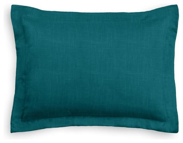 Dark Teal Linen Sham Pillow Cover Modern Pillowcases