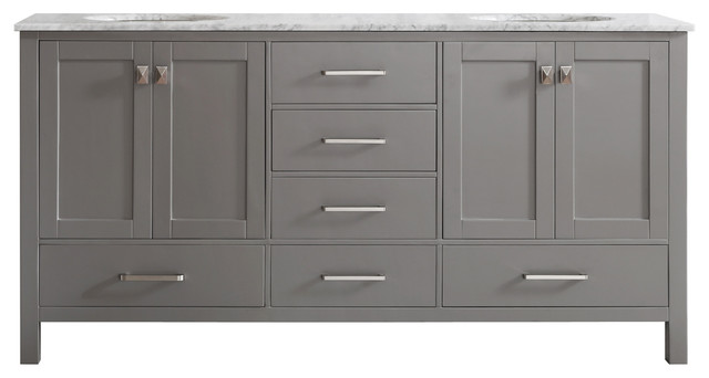 Gela Double Vanity Without Mirror, Gray, 72""