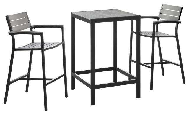 Maine 3-Piece Outdoor Aluminum Dining Set, Brown Gray