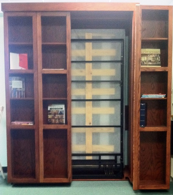 Bookshelf Murphy Bed With One Side Open Traditional Home Office
