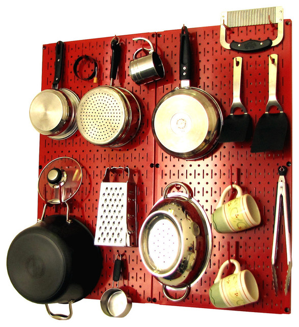 Kitchen Pegboard Organizer Pots and Pans, Red Pegboard and Red Accessories