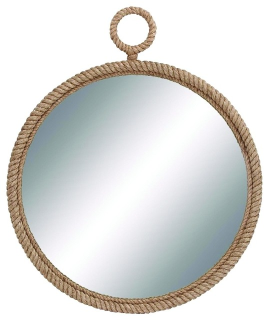 Round Metal Mirror With Rope Part - 30: Traditional And Lovely Inspired Round Wood Mirror Gold Bronze Rope Home  Decor Contemporary-wall-