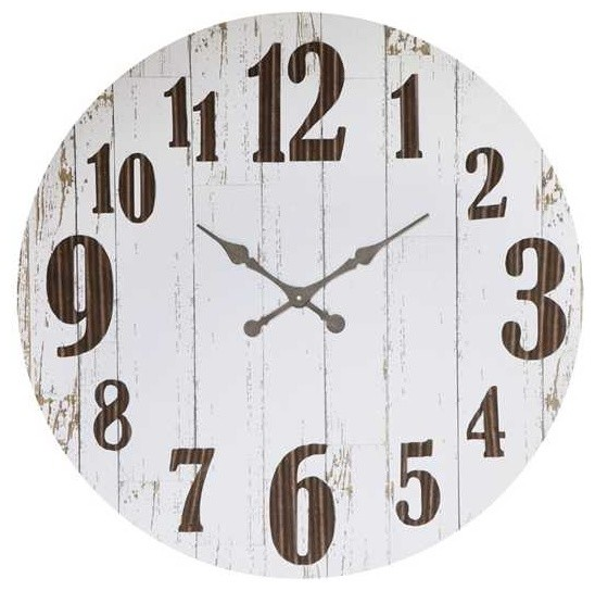 Round Distressed White Large Number MDF And Metal Clock