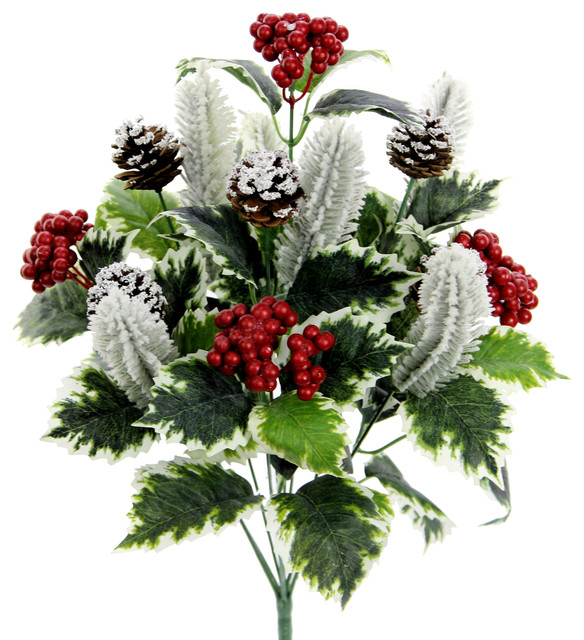 Faux Holly Leaves Berries Pinecone Snow Xmas Bush