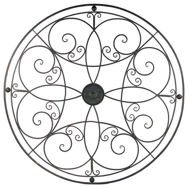 "Metal Scroll Wall Decor round scroll wall decor, metal, 49"" - rustic - wall panels -"